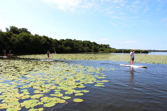 Stand-Up Paddle au lac d'azur dans les Landes.