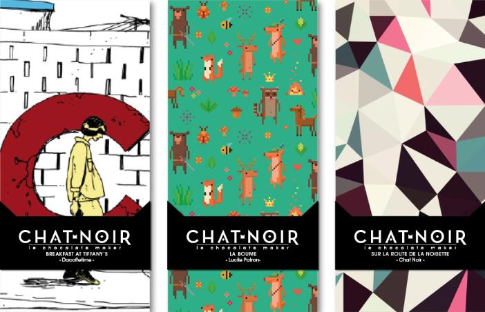 Tablettes de chocolat design de Chat Noir Chocolat.