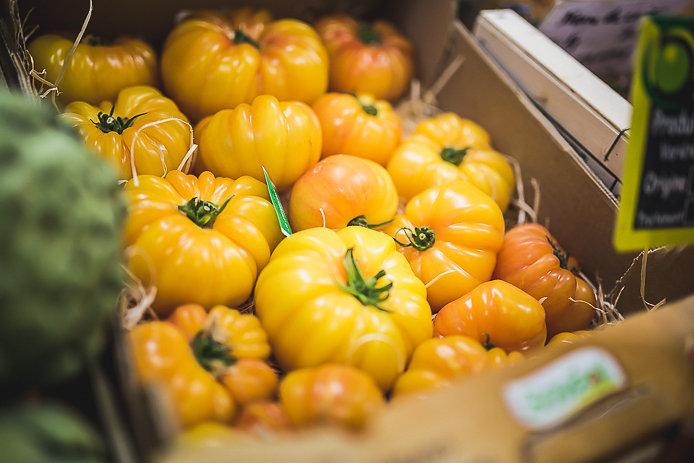 Tomates jaunes du marché des Halles de Biarritz.