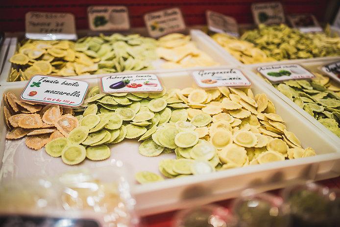 Pates fraiches du marché des Halles de Biarritz.