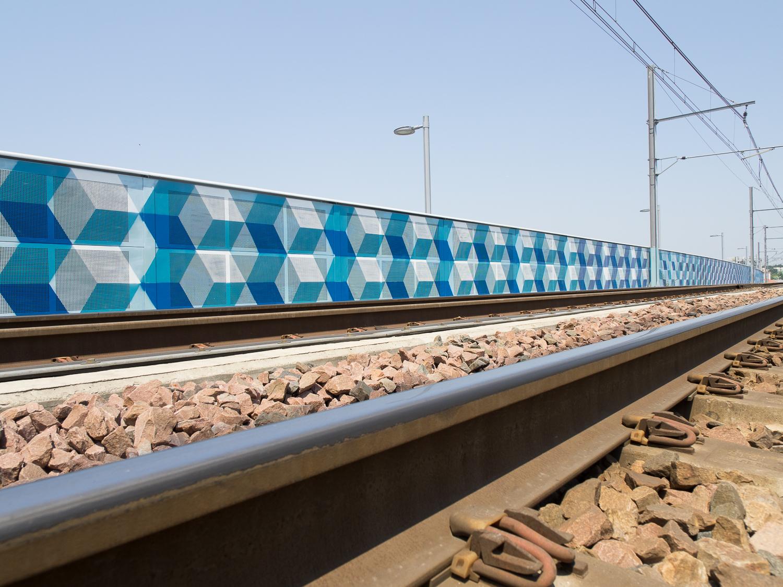 Wallpainting sur le pont ferroviaire de Bayonne