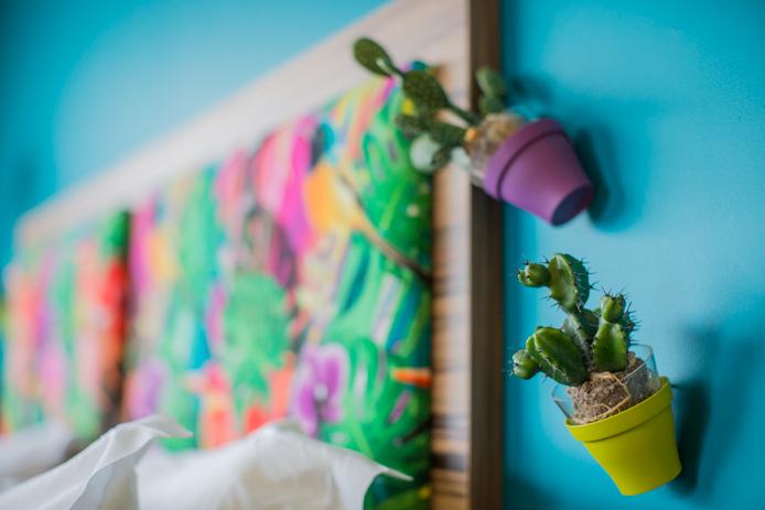 Cactus déco chambre panoramique hôtel restaurant Baya à Capbreton.