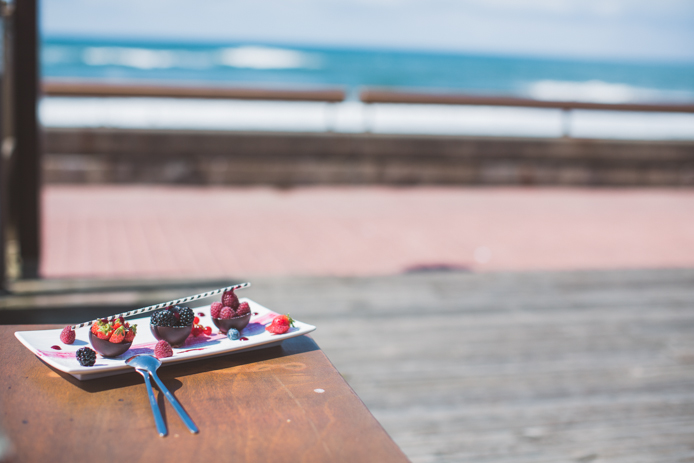 Dessert vue mer à l'hôtel restaurant & spa le Baya à Capbreton.