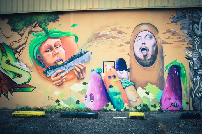 Graffiti sur les murs de Darwin Eco systeme à Bordeaux