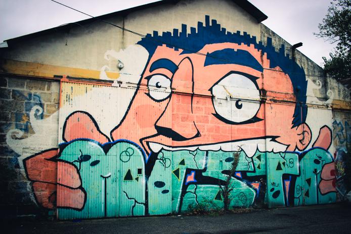 Graffiti sur les murs de la Caserne Niel Darwin à Bordeaux quais