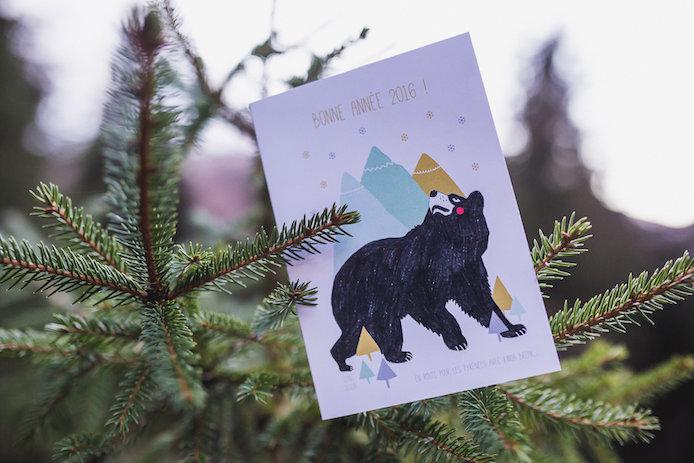 Carte de voeux par l'illustratrice Oona Seguin pour la Kinda Box de Noël.