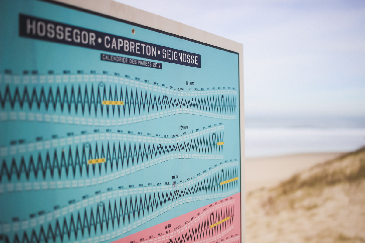 Calendrier Les Marées, tableau Made in Hossegor