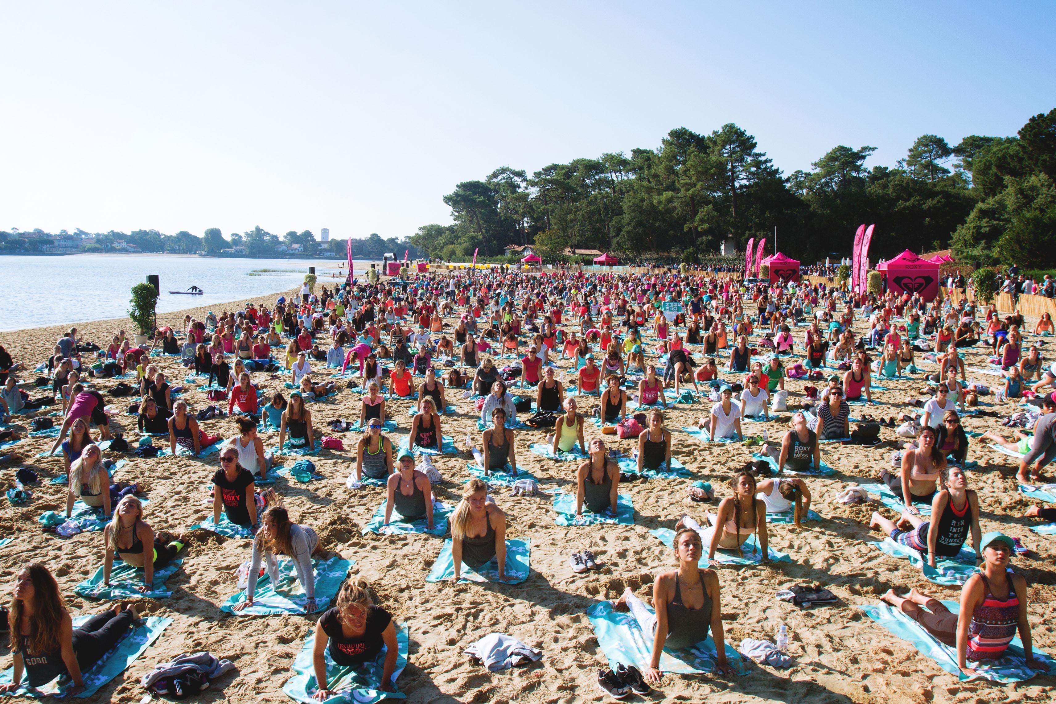 #RoxyFitness au lac d'Hossegor en octobre dans les Landes avec le cours de yoga