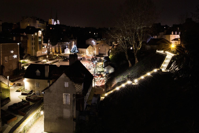 Quartier du Hédas à Pau et ses illuminations la nuit