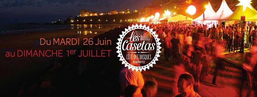 Les casetas à Biarritz Côte des Basques en juin et juillet 2018