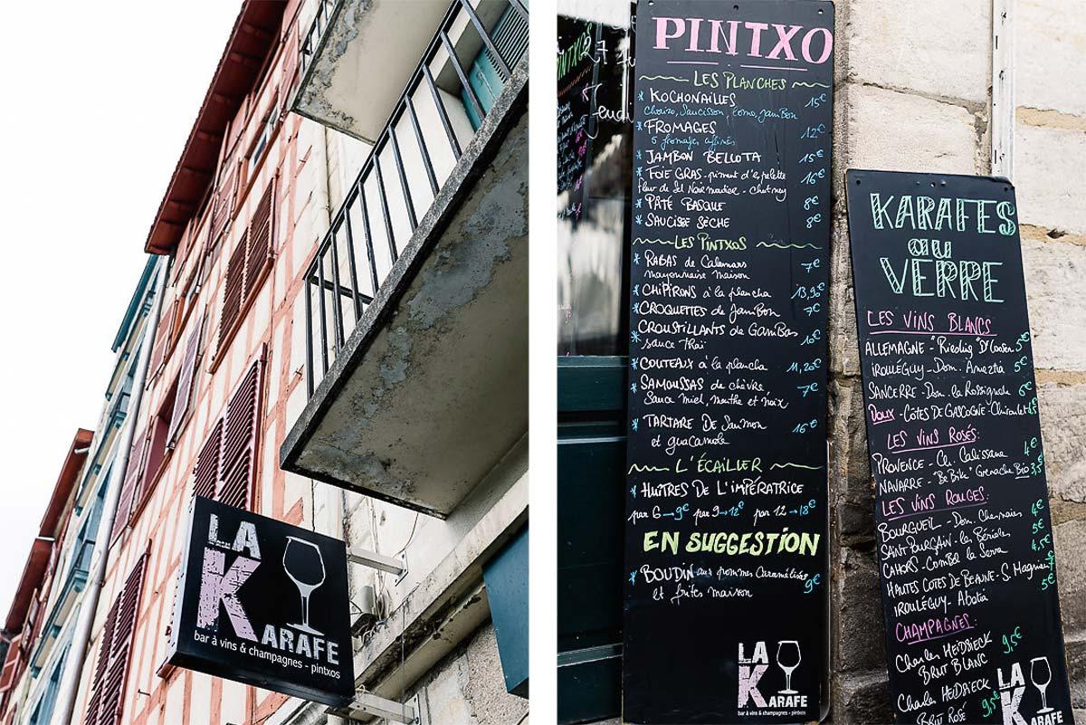 Bar à vin La Karafe à Bayonne au Pays basque